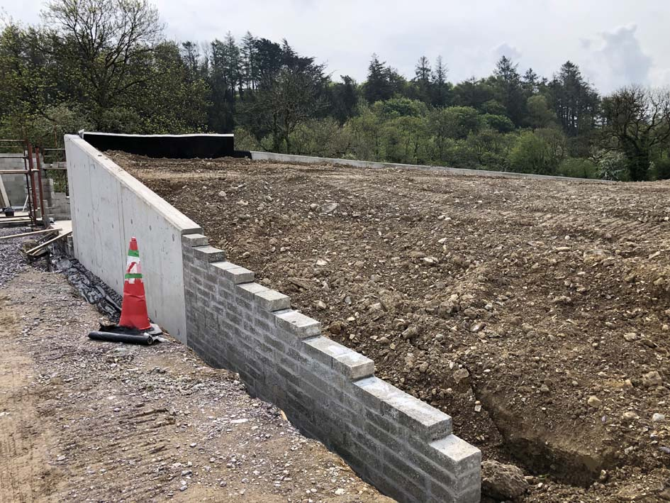 passive house county cork retaining wall